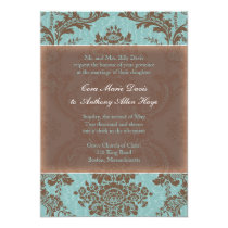 "Blue Elegant Damask Wedding Invitation 5"" X 7"" Invitation Card"