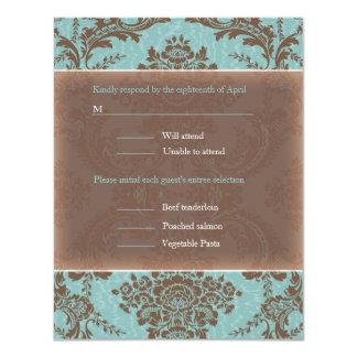 Blue Elegant Damask wedding RSVP Card