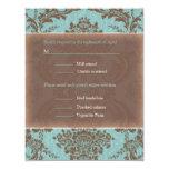 "Blue Elegant Damask wedding RSVP 4.25"" X 5.5"" Invitation Card"