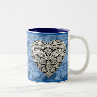 Blue Elegant Designer Heart Mug