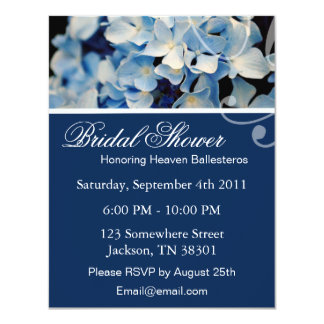 "Blue Elegant Hydrangea Bridal Shower Invitations 4.25"" X 5.5"" Invitation Card"
