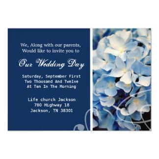 "Blue Elegant Hydrangea Wedding Invites 5"" X 7"" Invitation Card"