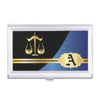 Blue Elegant Lawyer Design Business Card Holder