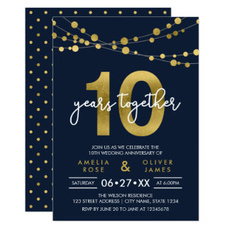 Blue Elegant Lights 10th Wedding Anniversary Card