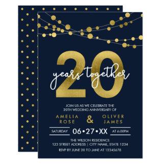 Blue Elegant Lights 20th Wedding Anniversary Invitation