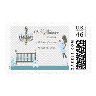 Blue elegant nursery baby boy shower stamps