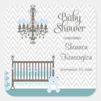 Blue elegant nursery baby boy shower stickers