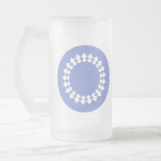 Blue Elegant Round Design. Art Deco Style. Frosted Glass Beer Mug