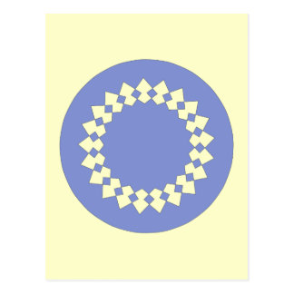 Blue Elegant Round Design. Art Deco Style. Postcard