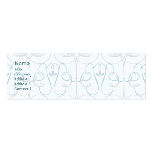 Blue Elegant - Skinny Double-Sided Mini Business Cards (Pack Of 20)