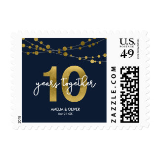 Blue Elegant Strings of Lights 10th Anniversary Postage