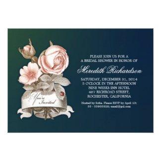 blue elegant vintage bridal shower invitation