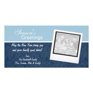 Blue Elegant Winter Holiday Photo Cards