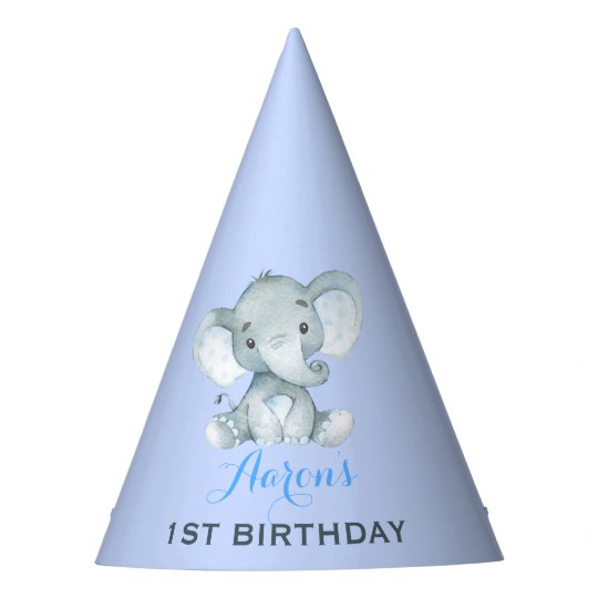 Blue Elephant 1st First Birthday Baby Boy Jungle Party Hat