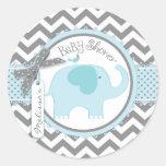 Blue Elephant and Chevron Print Baby Shower Classic Round Sticker