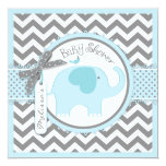 Blue Elephant and Chevron Print Baby Shower 5.25x5.25 Square Paper Invitation Card