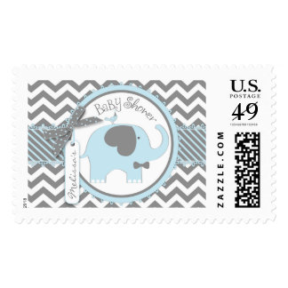 Blue Elephant and Chevron Print Baby Shower Postage