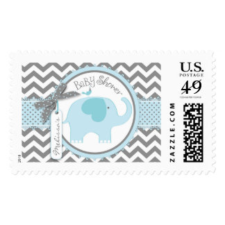 Blue Elephant and Chevron Print Baby Shower Postage Stamp