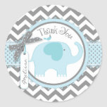 Blue Elephant and Chevron Print Thank You Round Stickers