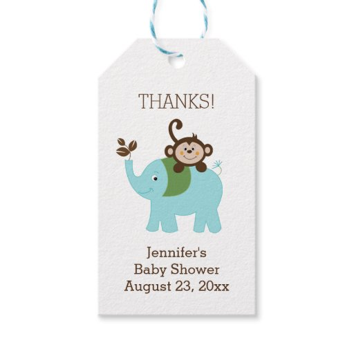 Blue Elephant and Monkey Custom Gift Tag
