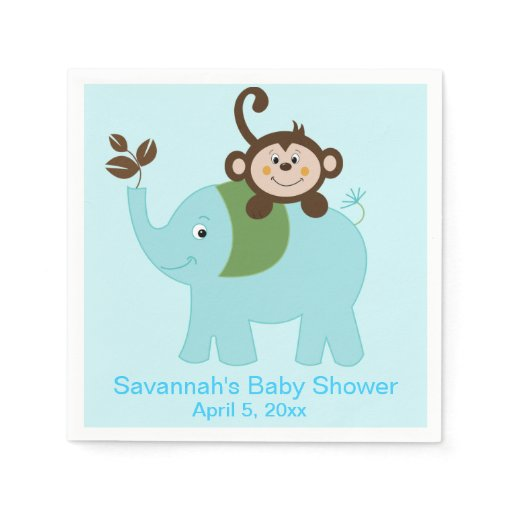 Blue Elephant and Monkey Custom Party Napkin
