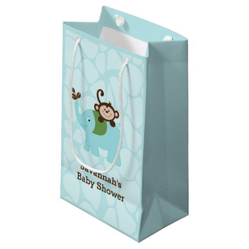 Blue Elephant and Monkey Gift Bag
