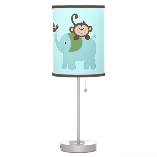 Blue Elephant and Monkey Nursery Lamp