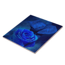 Blue Elephant and Rose Ceramic Tile