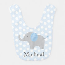 Blue Elephant Baby Bib