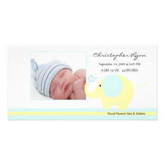 Blue Elephant Baby Boy Birth Annoucement Card