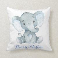 Blue Elephant Baby Boy Nursery Cushion Pillow
