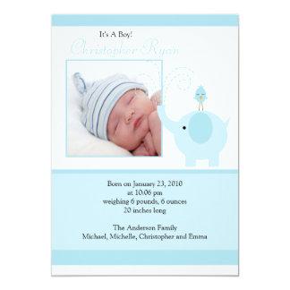 Blue Elephant Baby Boy Photo Announcement Card