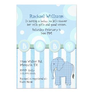 Blue Elephant Baby Boy Shower Invitation