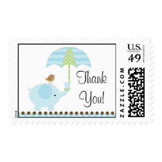 Blue Elephant Baby Boy Shower Stamp