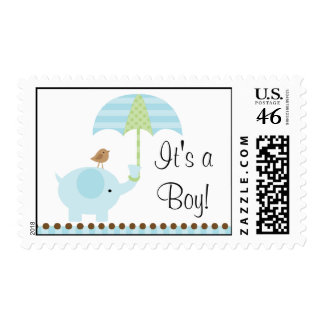 Blue Elephant Baby Boy Shower Stamps
