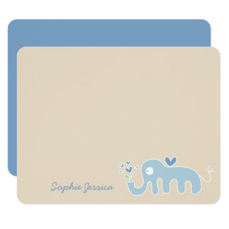 Blue Elephant Baby Boy Shower Thank You Card