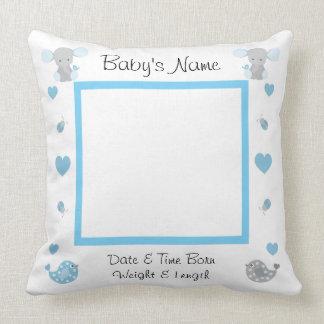 Blue Elephant Baby Boy Stats Photo Nursery Pillow