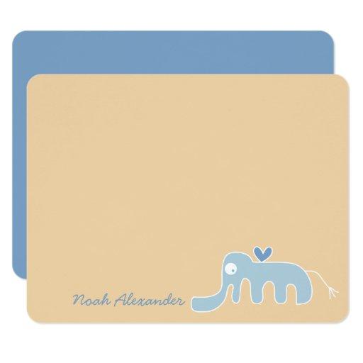 Blue Elephant Baby Boy Thank You Card