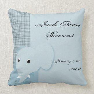 Blue Elephant Baby Keepsake Pillow