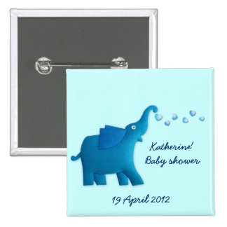 blue elephant baby shower 2 inch square button