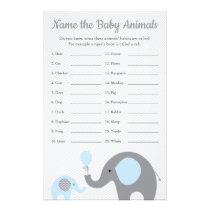 Blue Elephant Baby Shower Baby Animal Name Game Flyer