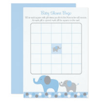 Blue Elephant Baby Shower Bingo Card