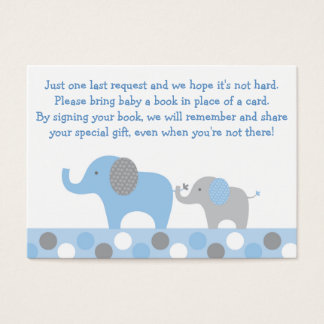 Blue Elephant Baby Shower Book Request Cards