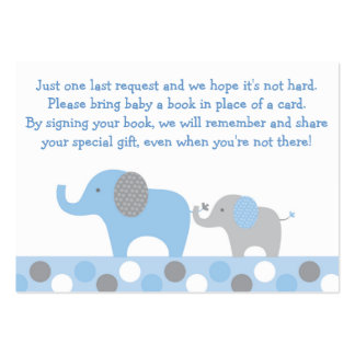 Blue Elephant Baby Shower Book Request Cards Large Business Card