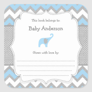 Blue Elephant Baby Shower bookplate book sticker
