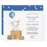 Blue Elephant Baby Shower by Mail invitation