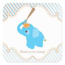 Blue Elephant Baby Shower Favor Sticker
