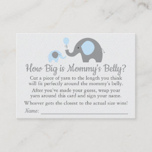 Size business cards zazzle blue elephant baby shower how big is mommys belly calling card colourmoves
