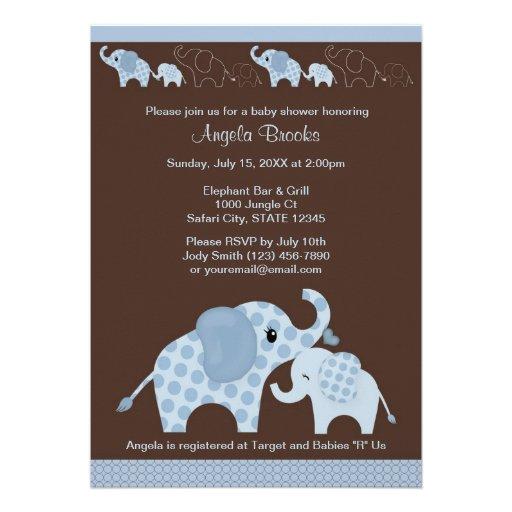 blue elephant baby shower invitation ce b 5 x 7 invitation card