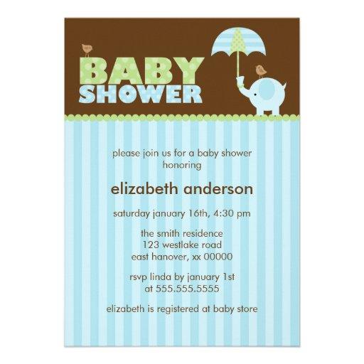 blue elephant baby shower invitations zazzle